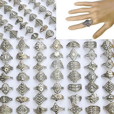 Wholesale Jewelry Lots 20pcs Mixed Silver Tone Rings Vintaged Style Fashion Hot
