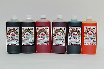 Classikool 6 x 1L Slushie Slush Puppy Syrup 6 to 1 Mix: 60 Flavours & 8 Colours