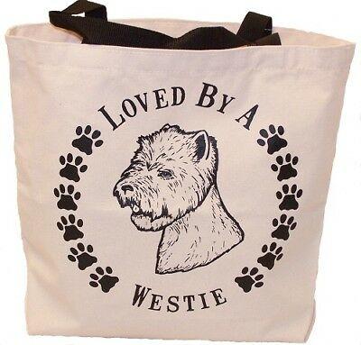 Loved By A Westie Tote Bag New Westhighland MADE IN USA