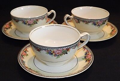 J&G Meakin England Marion 3 Cups & Saucers