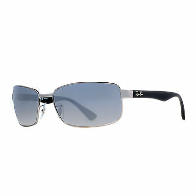 Ray Ban RB 3478 004/78 63mm Gunmetal/Blue Polarized Wrap Sunglasses