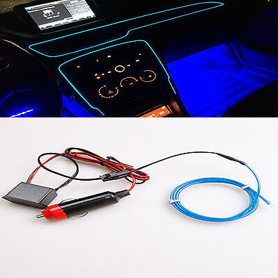 1M Cold Blue EL Wire Neon Light Battery power Controller Car Decorative Lamp