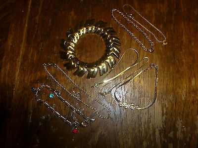 Lot of 8 Vintage & Modern Bracelets Gold Tone USED Mixed Lot Avon & More