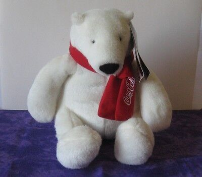 """Coca Cola 10"""" Plush White Polar Bear with Red Coke Scarf from 2007 Very Cute"""