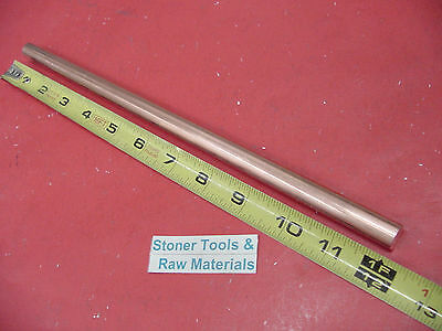 "1/2"" C110 COPPER ROUND ROD 12"" long H04 Solid CU New Lathe Bar Stock .50"" OD"