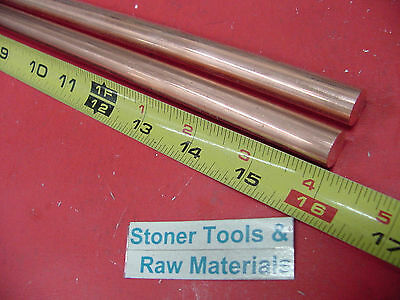 """2 Pieces 1/2"""" C110 COPPER ROUND ROD 16"""" long H04 Solid CU New Lathe Bar Stock .5"""