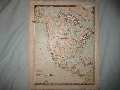 Antique 1875 North America United States Canada Handcolor Physical Map Texas Nr