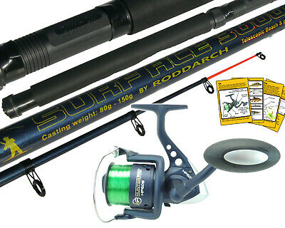 10Ft Telescopic Sea Fishing Kit Rod & Reel With Line. Beachcaster Pier Surf Rod