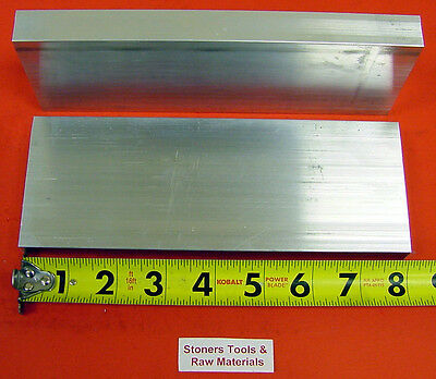 """2 Pieces 1"""" X 3-1/2"""" ALUMINUM 6061 FLAT BAR 8"""" long T6511 Solid Plate Mill Stock"""