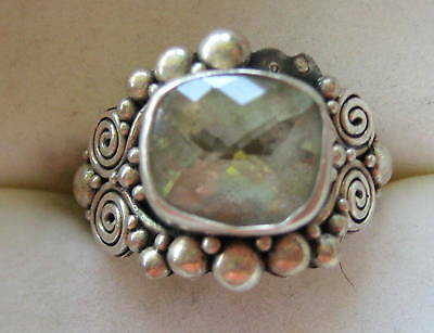 STERLING SILVER RING ARTISAN GREEN AMETHYST? HAND MADE SIZE 9 INDONESIA 9.8 GR