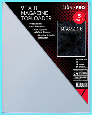 "5 Ultra Pro 9""x11"" Thick Magazine Holder TOPLOADERS NEW Protector Document 7MM"