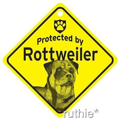 Protected by Rottweiler Dog Window Sign Made in USA