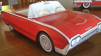 6 ~ Different RED Cardboard Classic Cars  * Food Serving Trays * Party Planner