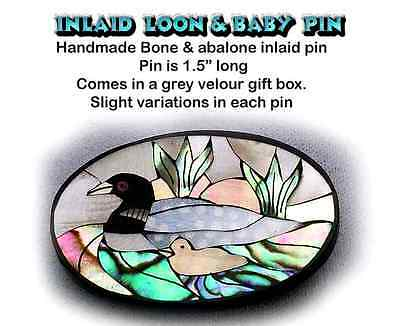 LOON Pin Inlaid w/ Abalone & Mother of Pearl