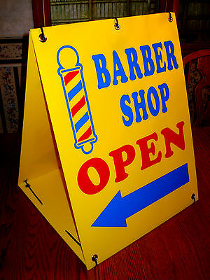 BARBER SHOP OPEN with ARROW 2-Sided  Sandwich Board Sign Kit NEW  yellow