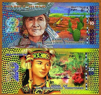 SET Equatorial Territories, 10 and 20 E. Francs, 2014 POLYMER, UNC