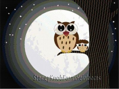 Whimsical Owl & Baby ~ Counted Cross Stitch Pattern Chart