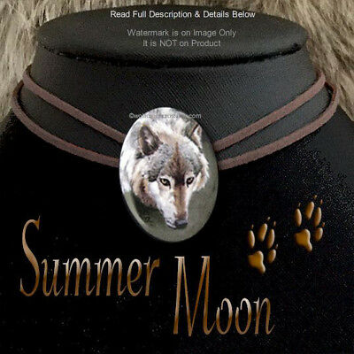 Summer Moon Wolf Necklace Leather Choker Wild Wolves Nature Art  Free Ship  #cl*