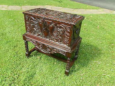 Amazing One Of A Kind Victorian Carved Chest With Stand