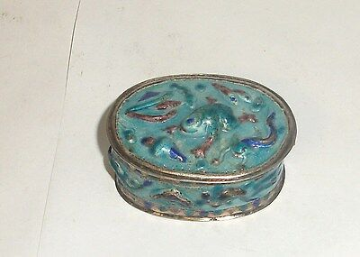 Rare Old Chinese Silver Cloisonne Repousse Enamel Mirror Frog,Fish Jar Box