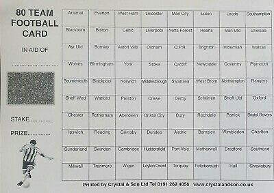 80 TEAM Fundraising Football Scratch Card/ Fundraising Scratch Cards 80 teams