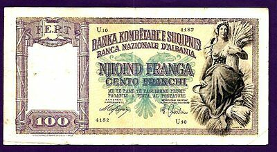 Albania 100 Franga P8 Vf (1940) Seated Farm Girl With Sheaf And Sickle, Arms