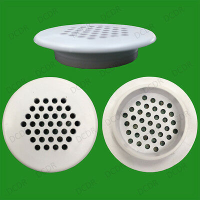 8x Roof Soffit Round Air Vents Eaves 48mm Grille 35mm Hole Push Fit Ventilation
