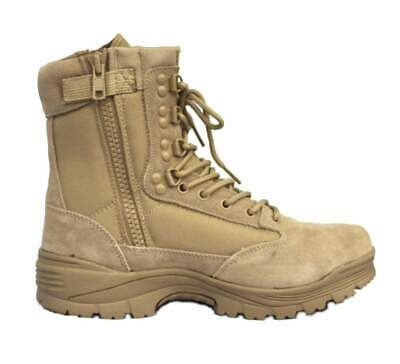 TACTICAL BOOT mit ZIPPER SWAT SECURITY SPRINGERSTIEFEL khaki GR.41-47