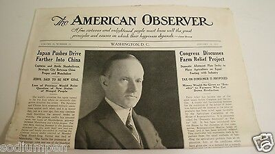 Wow Calvin Coolidge January 1933 The American Observer Newspaper President Death