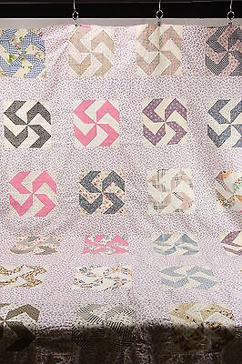 "Hand Sewn Pinwheel Quilt Top For Repurposing Crafting 92"" x 78"" Feed Sack Fabric"