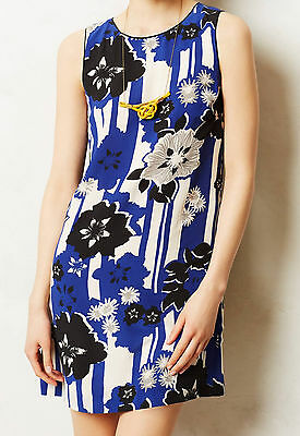 Maeve Striated Lace Dress Size 8 Blue Motif NW ANTHROPOLOGIE Tag
