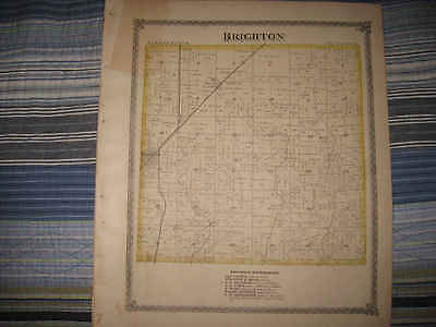 Bunker Hill Illinois Map.Antique 1875 Brighton Township Macoupin County Illinois Map Bunker