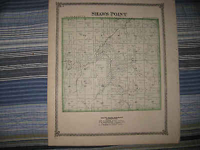 Mint Antique 1875 Honey Point Shaws Point Township Macoupin County Illinois Map