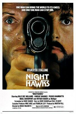 SYLVESTER STALLONE NIGHTHAWKS 1981 movie poster RUTGER HAUER guns NYPD 24X36