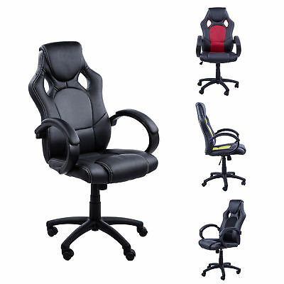 Racing Gaming Swivel Office Chair PU Leather Computer Chairs Height Adjustable
