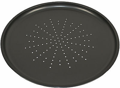 "12"" Round Pizza Tray Non Stick Carbon Steel Baking Cooking Oven Cripser Pan New"