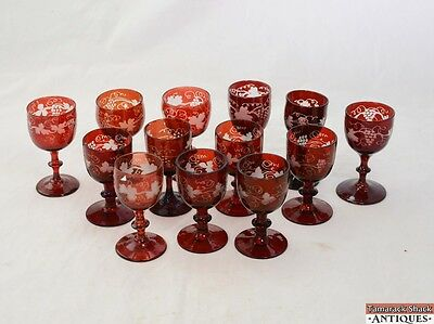 "Lot-13 Bohemian Ruby Red Flash Etched Grape Vine Stems Glass Medium 5"" Czech"