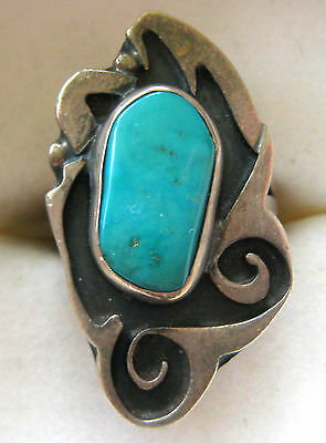 STERLING SILVER TURQUOISE RING SIZE 6 HAND MADE 6.5 GR ARTISAN ART NOUVEAU STYLE