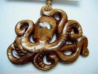 "46mm Genuine Hawaiian Koa Wood He`e Tako Octopus Paua Abalone Pendant 27"" Adjust"