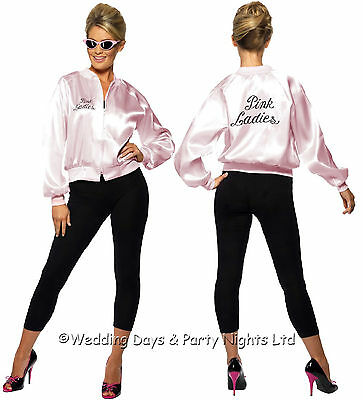 4-22 Official Pink Ladies Jacket Grease 50s 70s Fancy Dress Costume TV Film Star