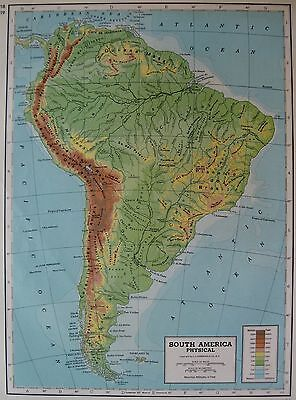 Vintage SOUTH AMERICA Map 1947 TOPOGRAPHICAL Antique Map