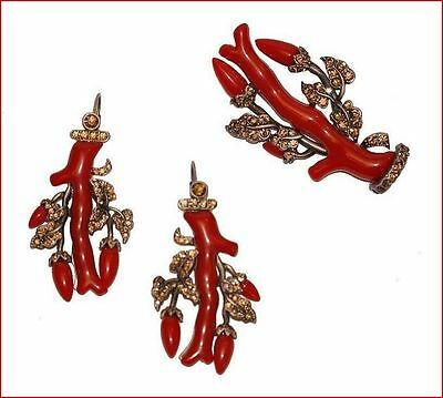 Victorian Repro Silver And Red Resin Faux Coral Branch Brooch And Earrings Set