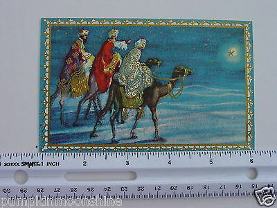 #D962- Vintage Brownie Xmas Greeting Card 3 Kings on Camel Following the Star