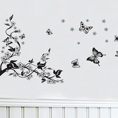 Floral Butterfly Flower Art DIY Vinyl Vine Wall Stickers Decor Mural Room Decal