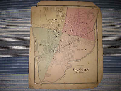 Antique 1870 Canton Township City Stark County Ohio Handcolored Map Rare Nr