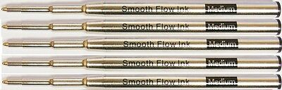 5 - Ballpoint Smooth Flow Refills for MONTBLANC PEN - BLACK Medium
