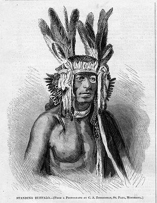 Santee Sioux Indian Chief Standing Buffalo Killed In Battle By The Assiniboine
