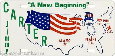 1976 Jimmy Carter Peanut NEW BEGINNING Election License Plate (4047)