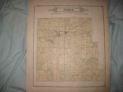 ANTIQUE 1892 NOBLE TOWNSHIP WELLSBORO LaPORTE COUNTY INDIANA HANDCOLOR MAP NR