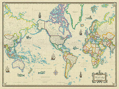 Large Vintage Antique World Map Poster Wall Art Print Decoration 24x36 inches